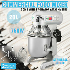 Commercial 1 Hp 20 Quart Food Mixer Cake Bakery Pizza Stand Mixer Three Speed