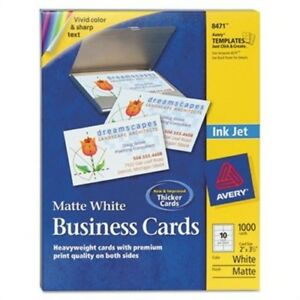 Two side Printable Business Cards Inkjet 2 X 3 1 2 White Matte 1000 box