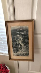 Chinese Antique Silk Textile Painting The Storm