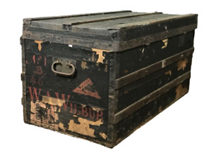 Louis Vuitton Labeled Large Steamer Trunk 1800s Black Painted