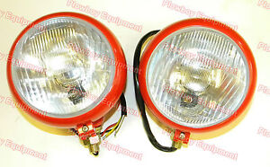 Universal 12 V Red Steel Headlight Pair 6 For Massey Ferguson Case Ih Tractor