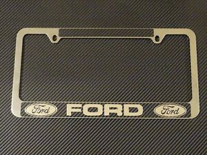 Ford License Plate Frame Chrome Metal Carbon Fiber Details Chrome Text