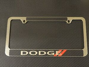 Dodge License Plate Frame Chrome Metal Carbon Fiber Details Chrome Text