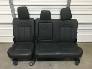 1999 2016 Ford F250 F350 Super Duty Rear Seat Black Leather 60 40 Platinum Edtn