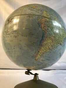 Vintage Replogle Comprehensive 12 Diameter Desk Stand Globe 1960 S