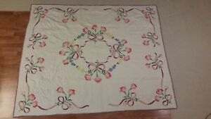Vintage Antique Quilt Circa 1950 S Tulip Design 73 By 88 3 4 Family Heirloom