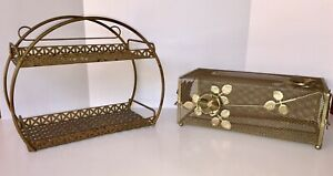 Vintage Rare Mid Century Shelf Tissue Set Wrought Iron Wire Mesh Modern 60 S