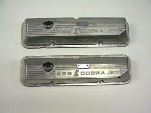 New Ford 428 Scj 69 70 Shelby Gt500 Mustang Mach 1 Snake Valve Covers