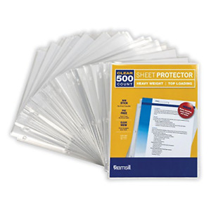Samsill 500 Clear Heavyweight Sheet Protectors 3 3 Mil Thickness Top Loading