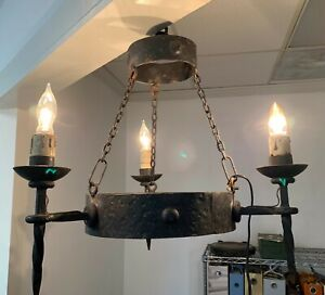 Vintage Gothic Arts Craft Wrought Metal Chandelier Fixture 1930s