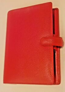 Filofax Personal Finsbury Real Leather 6 ring Personal Organizer Red