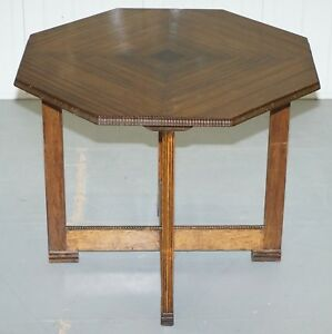 Art Deco Teak Small Hexagonal Dining Table Matching Chairs Available As Well