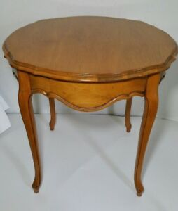 Vintage French Provincial Style Wood End Round Table Maple