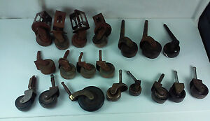 Antique Lot 19 Mixed Furniture Industrial Metal Wood Rolling Casters