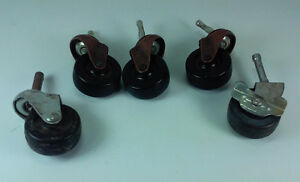 Lot Of 5 Furniture Industrial Silver And Bronzed Metal Rolling Casters