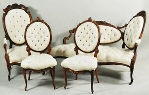 4 Pc Antique Carved Rosewood Chaise Settee Chairs Parlor Set Silk Upholstery