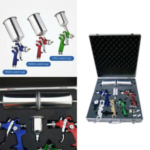 3 Pcs Hvlp Air Spray Guns Kit Auto Paint Car Primer Basecoat Clearcoat W Case