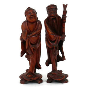 Pair Chinese Immortals Hand Carved Boxwood Huang Statues Chinese God Or Diety