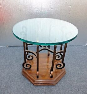 Vintage Drexel Spanish Style End Table Mid Century Glass Top Wrought Iron Wood