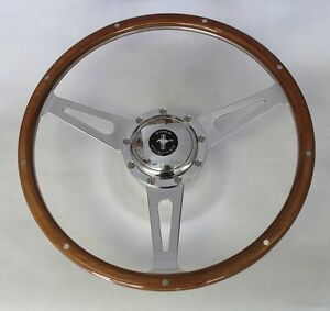 1968 77 Mustang Cobra Style 9 Hole Wood Steering Wheel 15 Mustang Center Cap