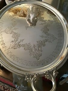 Antique English Silver Plate Oval Tray With Deer Head Center Hallmarked