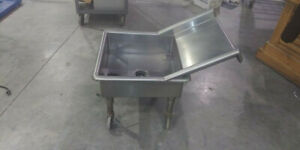 Stainless Steel Wash Tub Sink With Lever Drain On Casters 185