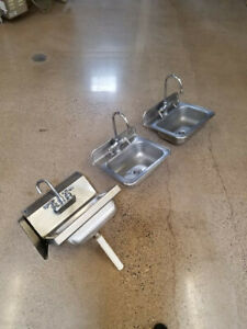 Three Stainless Steel Comercial Sinks 222