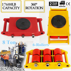 Heavy Duty Machine Dolly Skate Roller Machinery Mover 8t 17600lb 360 rotation Us