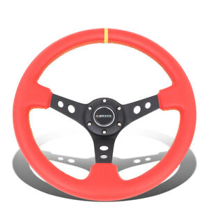 Nrg 35cm 3 deep Dish Spoke Red Leather Grip Steering Wheel W yellow Center Mark