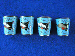 Four Russian Enamel Over Silver Metal Cups Shot Glasses 1