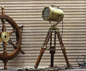 Vintage Decorative Marine Table Lamp Nautical Royal Wooden Tripod Desk Decor Mar