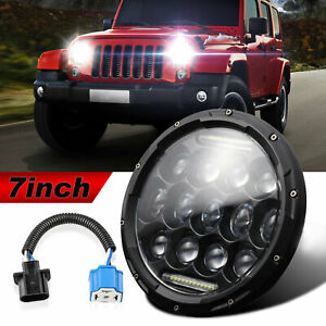 7 Round 75w Led Headlight Hi Low Sealed Beam For Jeep Wrangler Tj Jk Cj 7