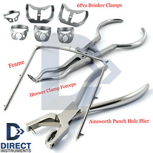 Dental Rubber Dam Kit Brewer Forceps Brinker Clamps Punch Hole Frame Surgical Ce