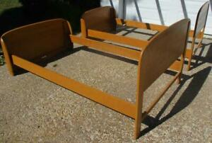 Pair Vintage Heywood Wakefield Single Beds Champagne Finish