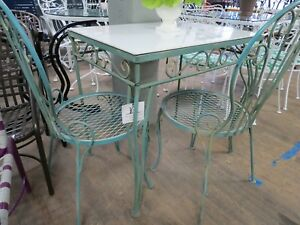 Woodard Vintage Wrought Iron Breakfast Table Desk 2 Chairs Original Cond