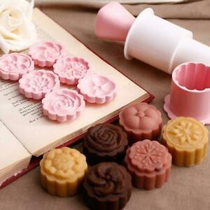 Moon Cake Mold Mould Hand Pressure Flower Motif Pastry Round Stamps Decor-LIN