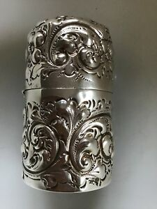 Durgin Sterling Silver Floral Repousse Hinged Ink Well Canister Jar 1892 Dated