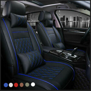 Us Stock 5 seat Pu Leather Car Seat Cover Cushion Full Set Front rear All Season