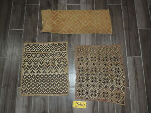Handwoven African Grass Kuba Cloth Set Of 3 Flatweave