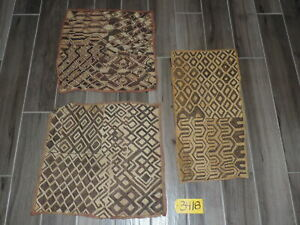 Handwoven Flatweave African Kuba Cloth Grass Rugs Set Of 3