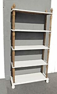 Vintage French Country Cottage Chic Shabby White Rustic Bookcase Five Shelves