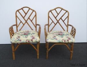 Pair Of Vintage Mid Century Chinese Chippendale Bamboo Floral Accent Chairs