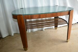 1930 S Art Deco Burl Walnut Oval Coffee Table Beveled Etched Glass Top France
