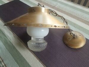 Vintage 1950 S Hanging Ceiling Light Fixture With Glass Globe