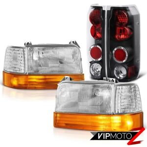 92 96 Ford F150 F250 F350 Bronco Factory Style Signal Headlight Black Brake Lamp