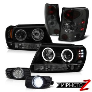Dark Smoke 99 03 Jeep Grand Cherokee Halo Headlight Tail Brake Light Led Drl Fog
