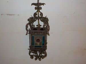 Lovely Vintage Metal Stained Glass Hanging Porch Light Lantern Chandelier