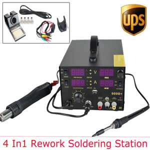 Pro 909d 4in1 Soldering Rework Station Solder Iron Smd Hot Air Gun Dc 800w 2a