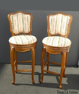 Pair Vintage French Country White Swivel Barstools Bar Stools