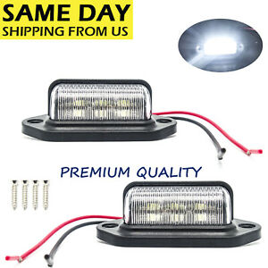 6 Led License Plate Tag Light Black Boat Trailer Rv Truck Ear Mount 2 Pcs Us